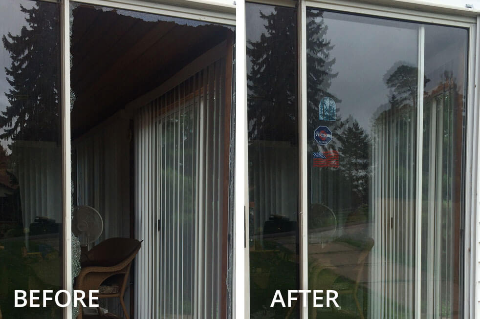 Before And After Glass Repair Images Residential Glass