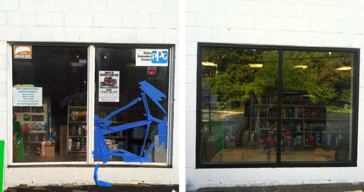 A before and after picture of a broken window at a store.