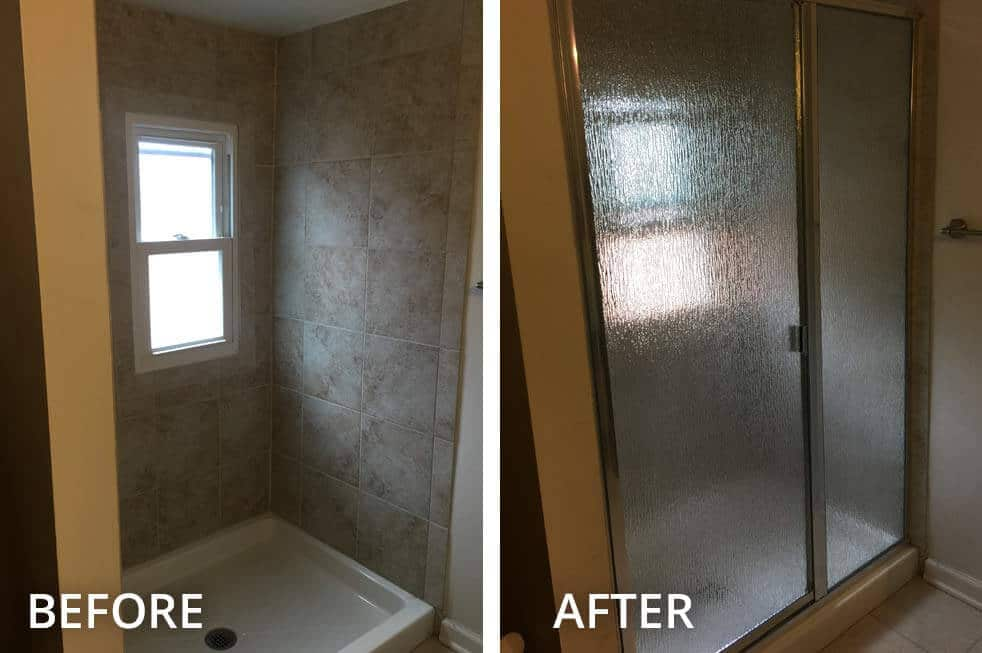Before and After Shower Glass Framed