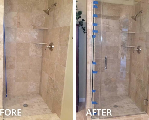 Shower door glass enclosure installation in pittsburgh before and after shower glass swing door planetlyrics Images